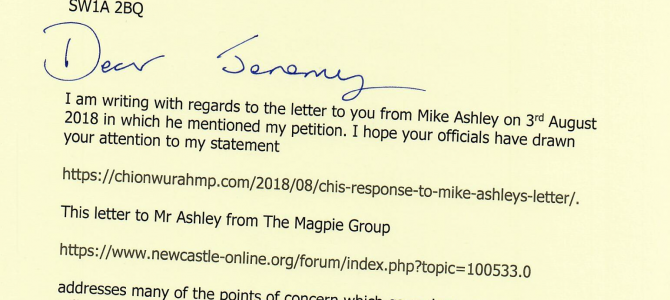 Letters to Culture Secretary on Mike Ashley/Newcastle United