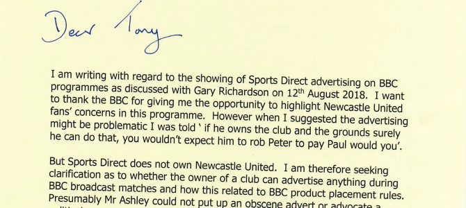 Letter to BBC Director General on Sports Direct product placement at St James' Park