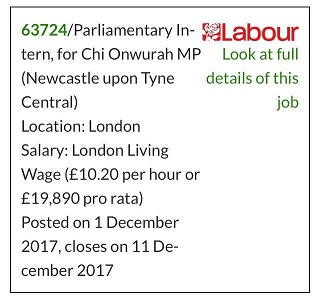Applications invited for paid Intern in Westminster