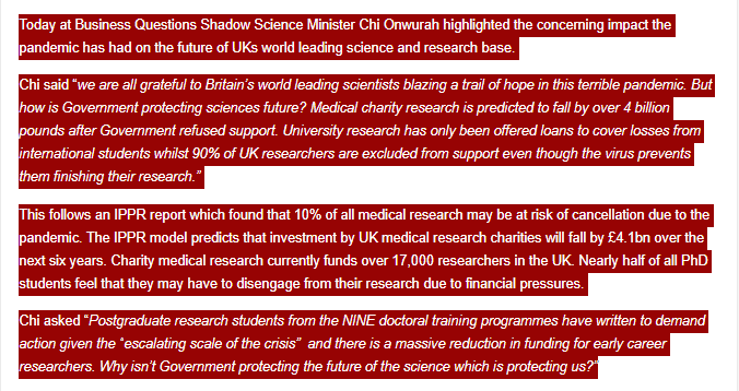Press Release: Secretary of State for Business accuses Shadow Minister of living in a parallel universe for calling on theGovernment to protect UK the future of scientific research