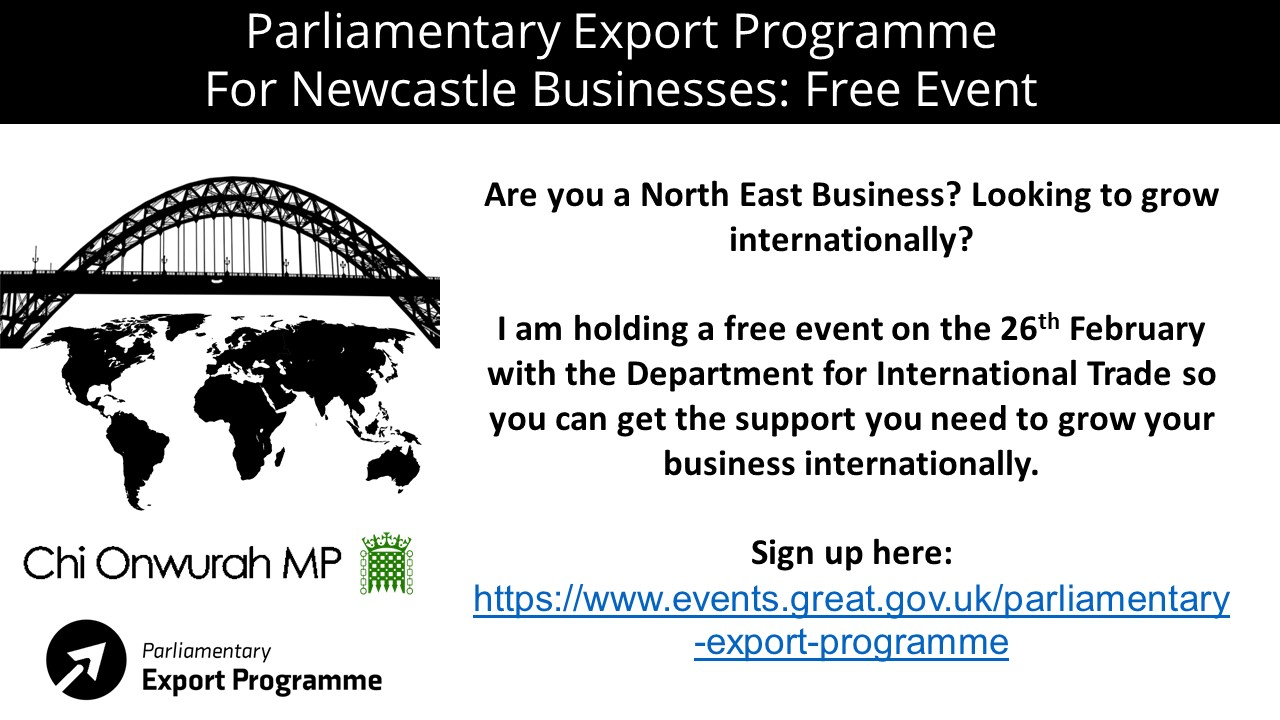 Parliamentayr Export Programme for Newcastle Businesses; Free Event