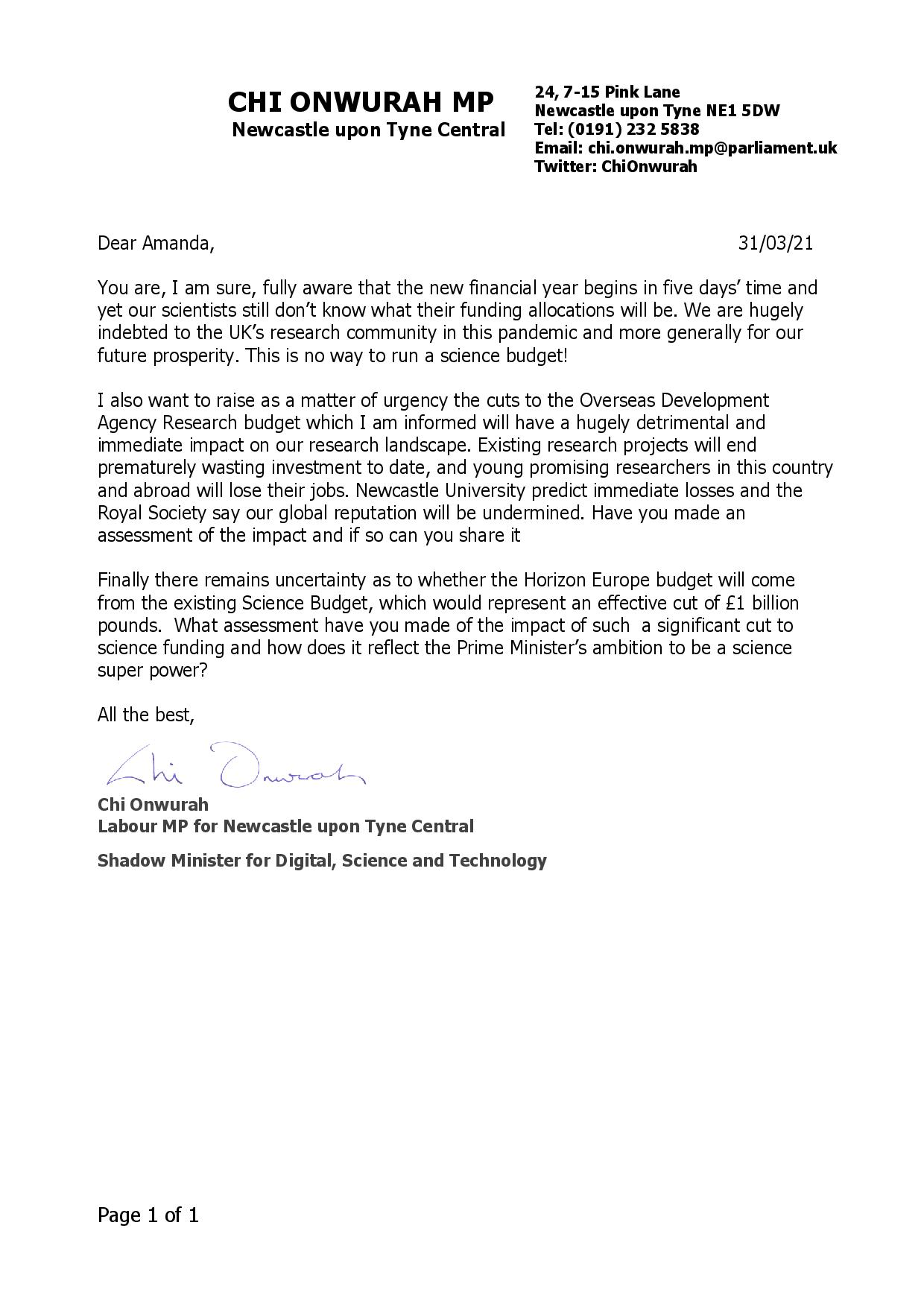 Chi writes to Science Minister demanding clarity for scientists and research sector