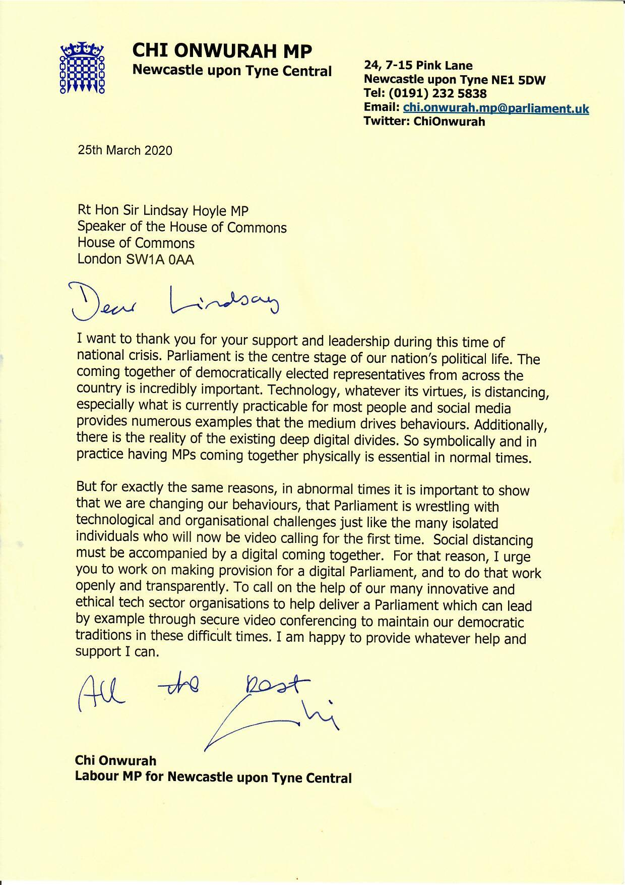 Chi writes to the Speaker requesting a digital Parliament during the covid-19 outbreak