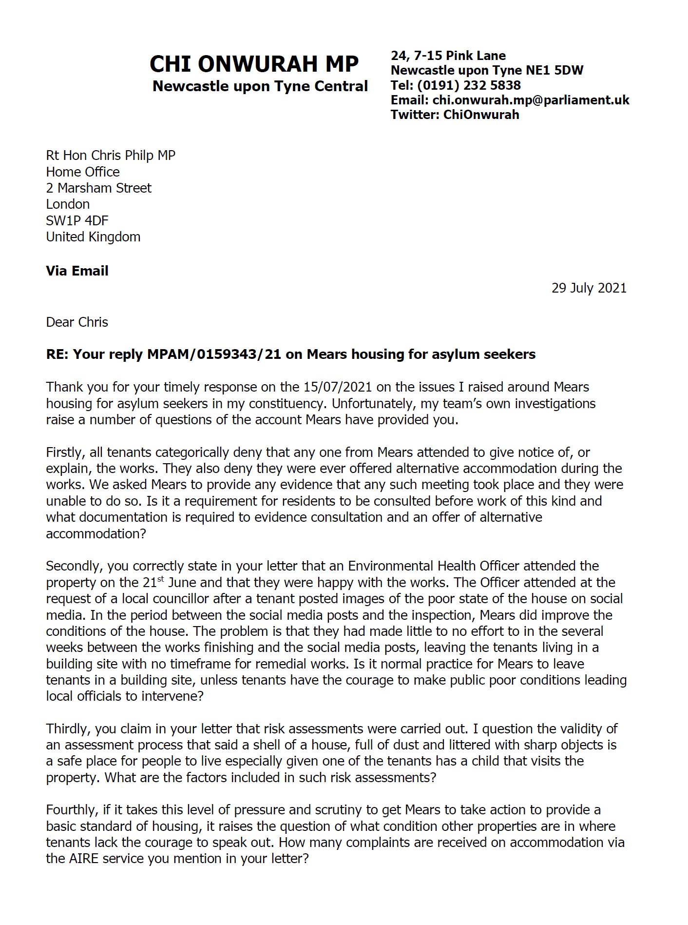 Chi Responds to Minister on Asylum Seeker Housing Conditions