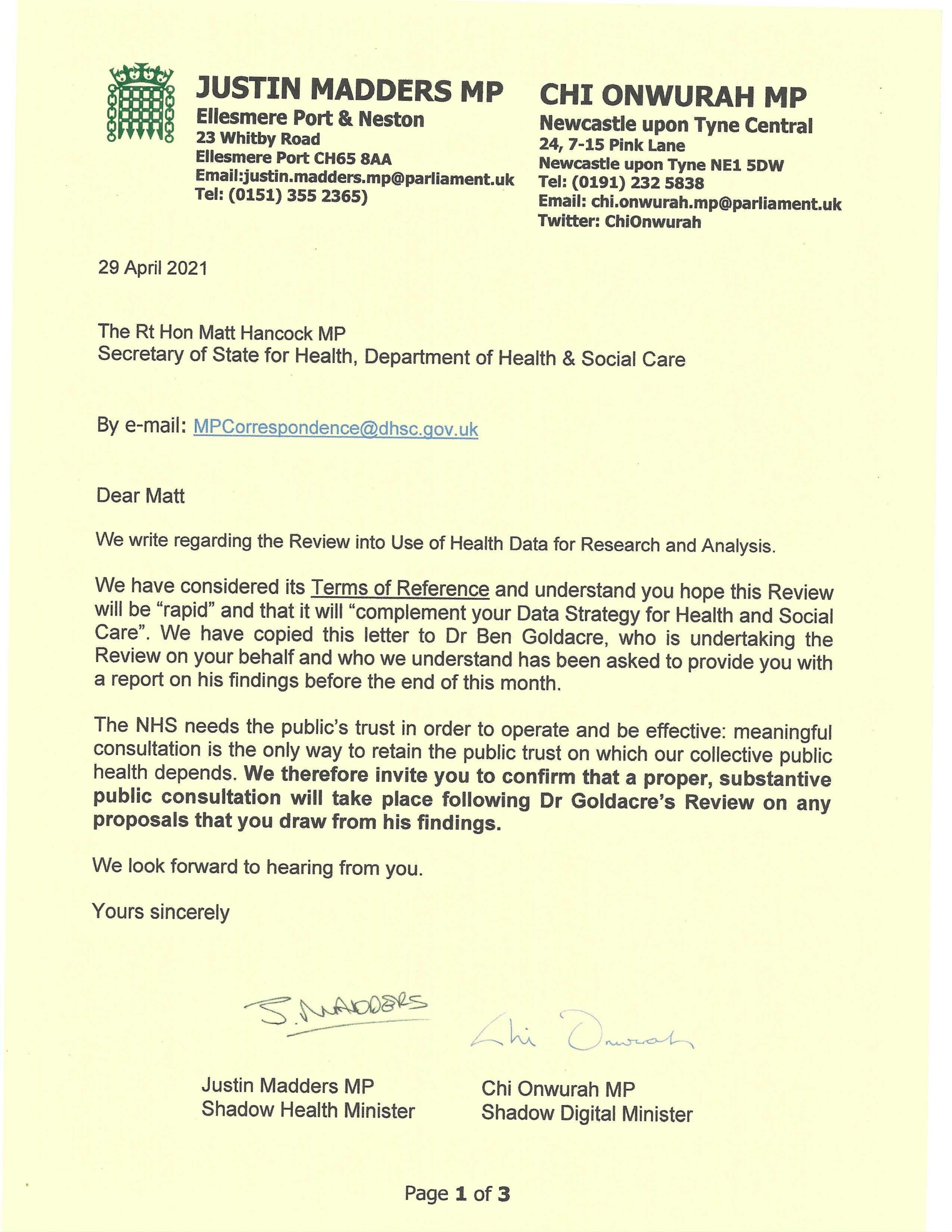 Chi and Justin Madders MP write to the Health Secretary  to ensure public consultation over the use of health data