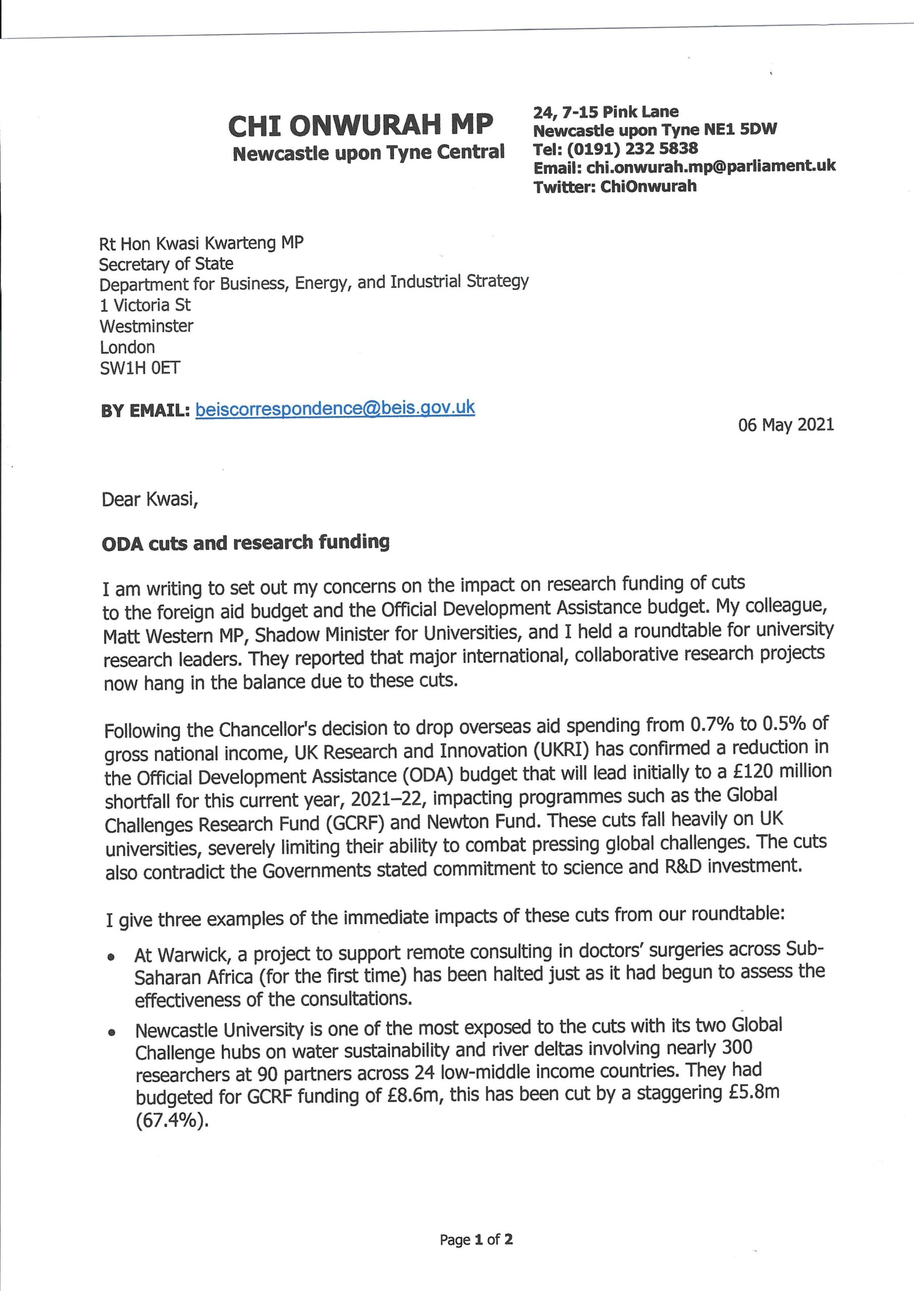 Chi writes to BEIS on cuts to research funding